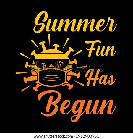 Summer fun has begun vector illustration. Funny summer in covid-19 pandemic, Good for greeting card and t-shirt print, flyer, poster design, mug. Zdjęcia stock ©