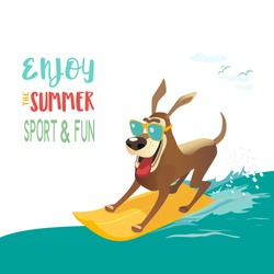 Summer fun sport concept. Dog on surf board. Colorful comic cartoon. Domestic pet adventure activity on sea beach. Dogs days of summer banner. Canine puppy surfing. Vacation relax vector illustration