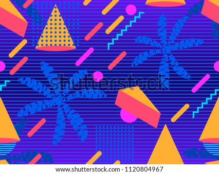 Summer futurism seamless pattern. Geometric elements memphis in the style of 80s. Retro background with palm trees. Retrowave. Vector illustration