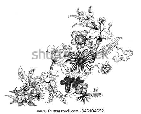 Summer garden blooming flowers monochrome vector illustration #345104552