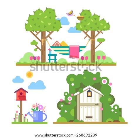 summer garden landscape with
