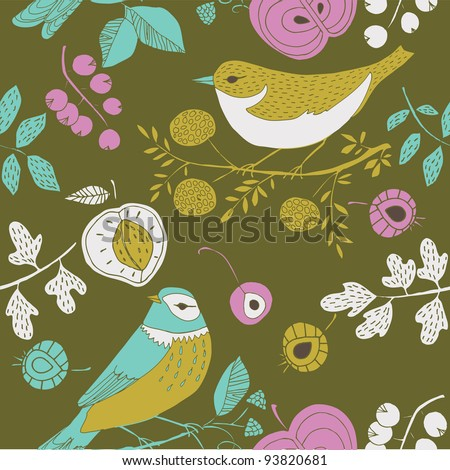 summer garden with birds