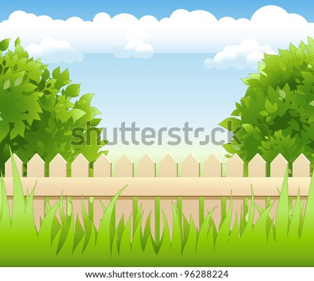 summer garden with tree and wooden railing