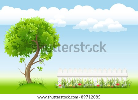 summer garden with tree,  flower and light railing