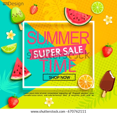 Summer geometric super sale banner with fruits, ice-cream, flowers. Vector illustration.
