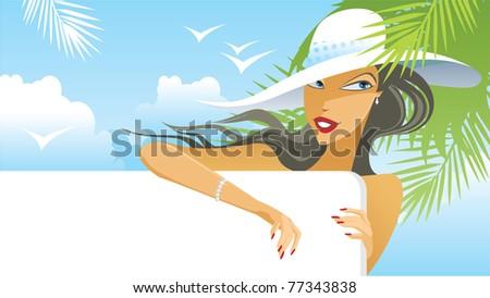 Summer girl holding blank sign