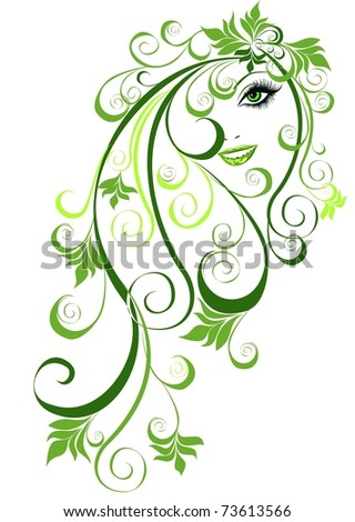 Summer girl with floral elements in hair. Vector illustration abstract girl with floral hair