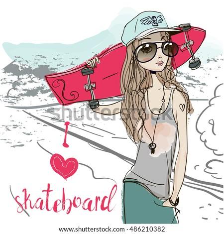 summer girl with skateboard