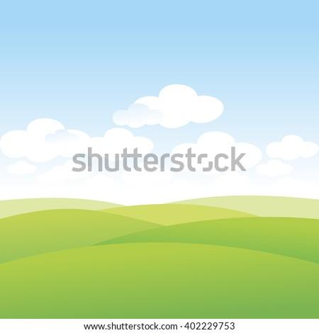 Summer. Golf courses. Landscape. Green Hills. Grasslands. Wasteland. Clouds in the sky. Vector illustration.