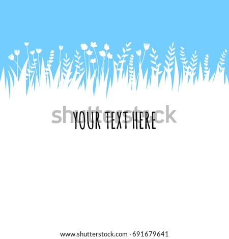 Summer grass on blue sky background for text. Vector eco, nature design banner, template