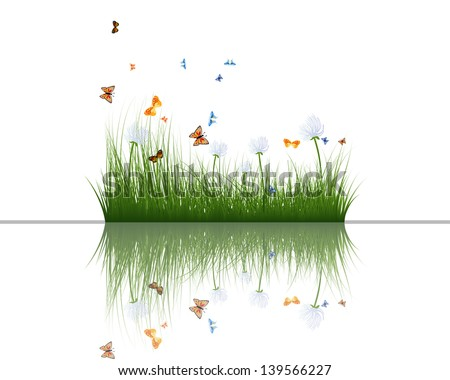 Summer grass with reflections in water. EPS 10 vector illustration.