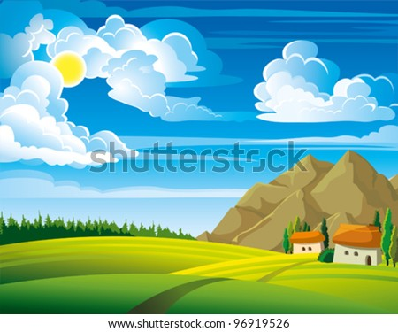 Summer green landscape with trees and houses on a blue cloudy sky background