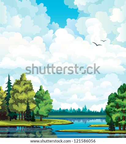summer green landscape with
