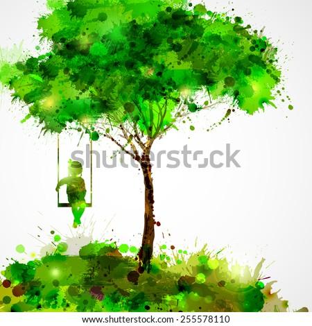Summer green tree Dreaming girl on swing