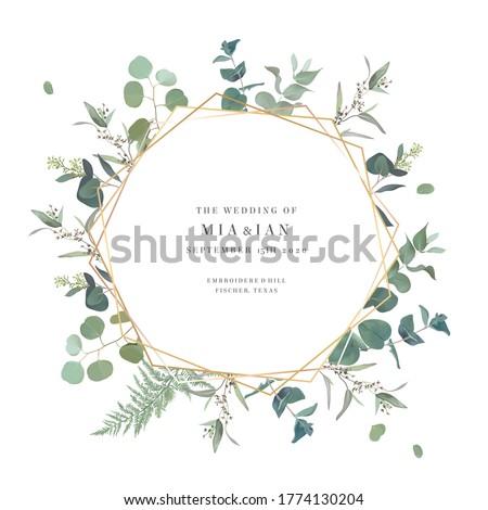 Summer greenery vector design card. Eucalyptus, spring greenery, sage plants. Wedding floral invitation background. Geometric golden art. Watercolor vintage frame. Elements are isolated and editable