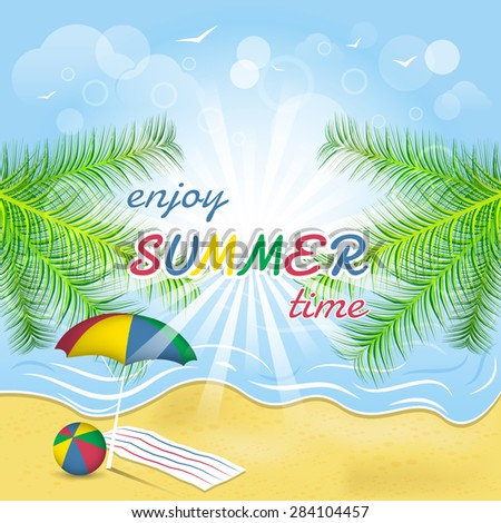 Summer greeting card/seacoast, palm trees, ball, beach and umbrella