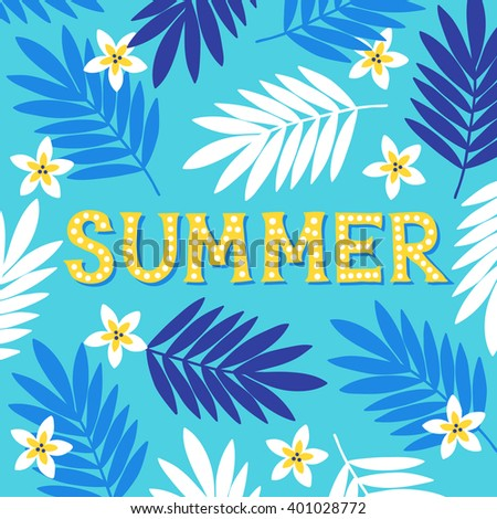Summer Greeting Card With Palm...
