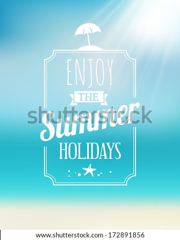 Summer greeting card with the sea and the sun
