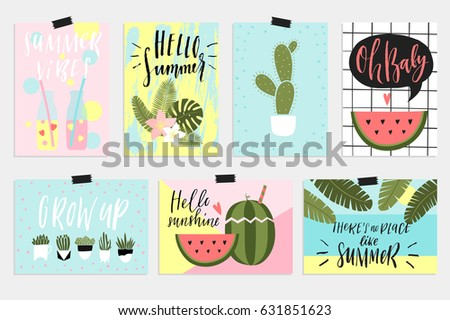 Summer greeting cards and posters with fun elements, hand drawn lettering and textures. Palm tropical leaves, watermelon, banana, pineapple and much more