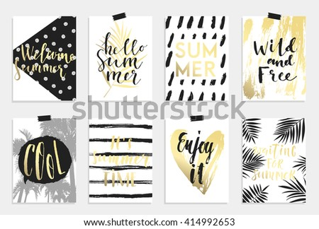 Summer hand drawn calligraphyc card set. Vector collection of black, white, gold colored summer cards. Beautiful summer posters with pineapple, banana, palm leaves and hand written text. Journal cards