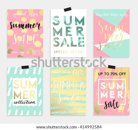 Summer hand drawn calligraphyc card set. Vector collection of bright summer cards. Beautiful summer posters with pineapple, banana, palm leaves and hand written text.  Journal cards