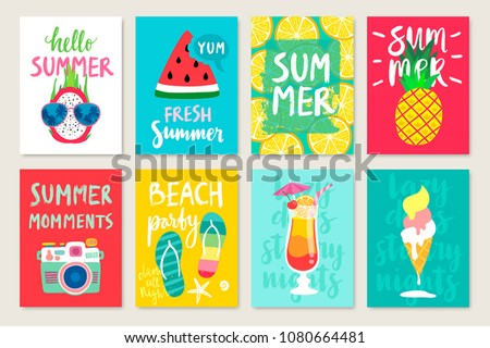Summer hand drawn calligraphyc card set with fruits, cocktails, ice cream. Use it for flyers, postcards, banners, posters and other designs. Vector illustration.