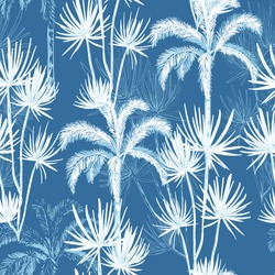 Summer hand drawn doodle line sketch palm and coconut trees ,island design for fashion, fabric, and all prints on sky blue background color