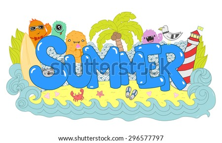Summer hand lettering and doodle illustration. Cartoon style colorful illustration #296577797