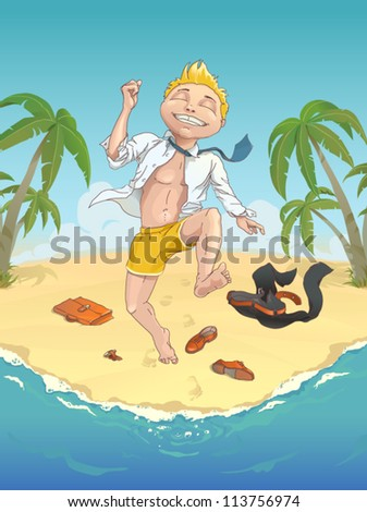 Summer. Happy man on the beach on vacation jumping into the sea