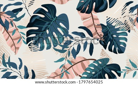 Summer hawaiian pattern with exotic tropical plants, palm tree, of Pink and blue monstera leaves