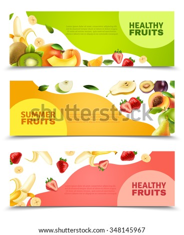 Summer healthy diet organically grown fruits and berries 3 horizontal colorful banners set abstract isolated vector illustration #348145967