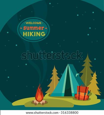 summer hiking   vector