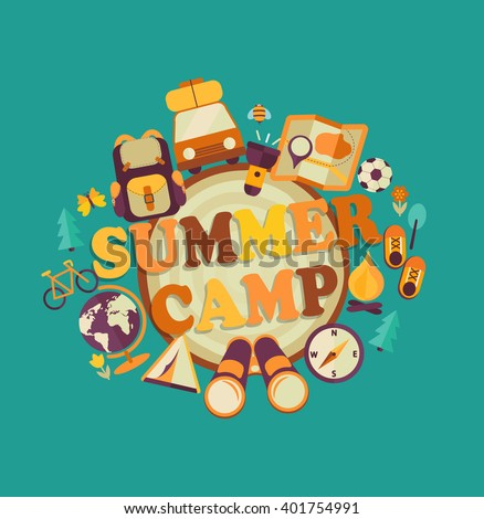 Summer Holiday and Travel themed Camp poster in flat style, vector illustration.