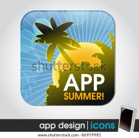 summer holiday app icon for mobile devices