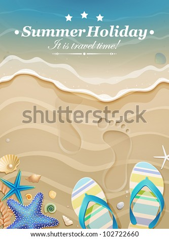 Summer holiday background with footprints in sand. Vector illustration.