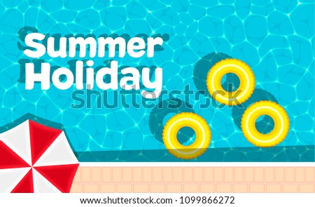 Summer holiday banner with space for text. Yellow pool float and sun umbrella. Ring floating in a refreshing blue swimming pool. Colorful poster for summer pool party. Hello summer banner