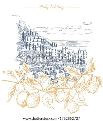 Summer holiday card. Illustration  of mediterranean landscape and lemon branch in the foreground. Hand drawn sketch.  ストックフォト ©