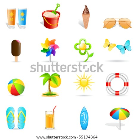 summer holiday icons - vector illustration