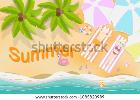 Stock Photo Summer holiday in the beach,Paper art vector illustration and digital craft.