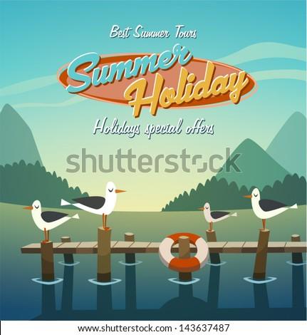 summer holiday retro bacground