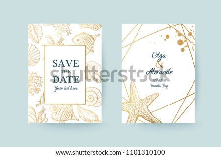 Summer holiday sea card template. Design for wedding, invitation, save the date, party, poster.