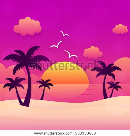 summer holiday sunset beach