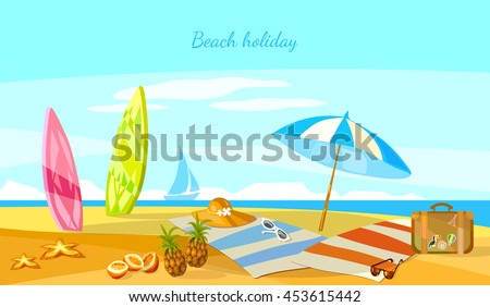 Summer holiday sunset beach scene tropical paradise vacation on coast surfboards on sand vector cartoon