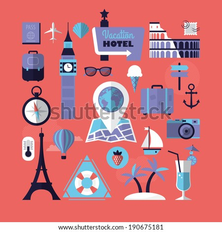 Summer holiday, tourism and travel destination flat icons. Vector illustration