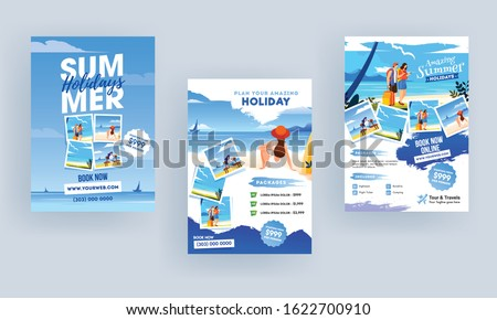 Summer Holiday Travel and Tourism Brochure, Template, Flyer Design Set with Beach View.