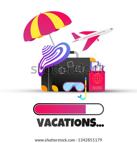Summer holiday tropical vacation flat style design composition with progress loading bar text VACATIONS, luggage  suitcase, beach hat, swimming mask, umbrella vector illustration isolated on white.