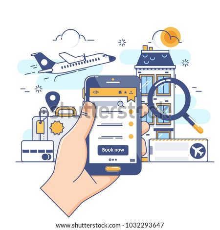 Summer holiday vacation booking online concept.Online booking design concept for mobile phone hotel, flight, car, tickets.