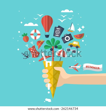 Summer holiday vacation concept with flat modern icons inside ice cream