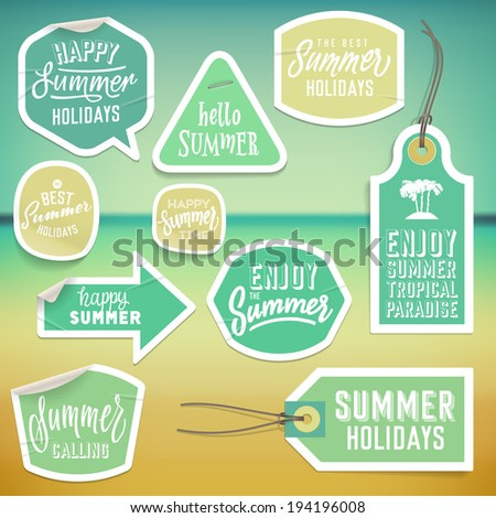 Summer holiday vacation stickers and labels design Vector eps10