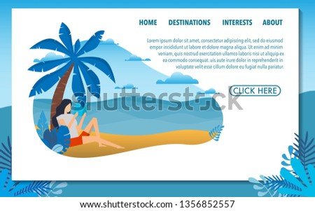 Summer holiday vacation website template of the beach vacation with people while on vacation rest and reading the book under the coconut tree with view of the clear sea with clear sky